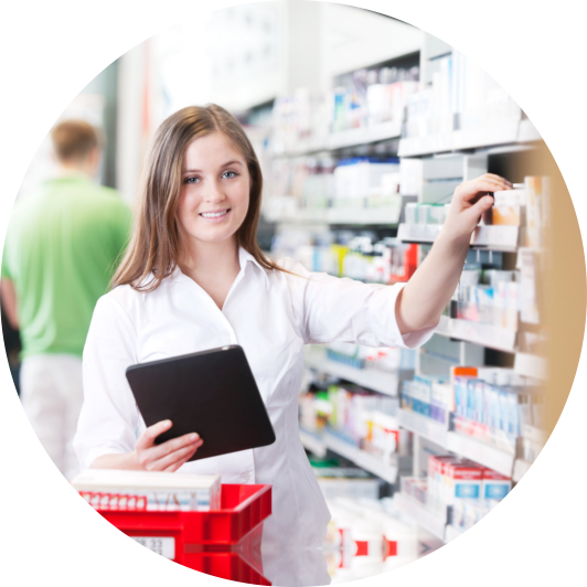pharmacist checking the products